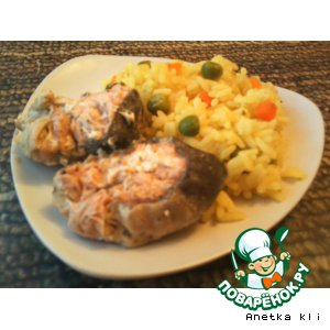 Рецепт Сочная горбуша и рис с овощами в пароварке