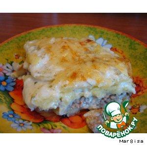 """Рецепт Запеканка из картофеля с мясом в соусе """"Бешамель"""""""