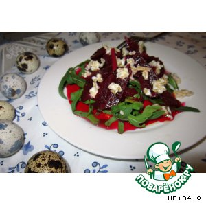 Рецепт Салат из маринованной свеклы, рукколы и овсяных хлопьев