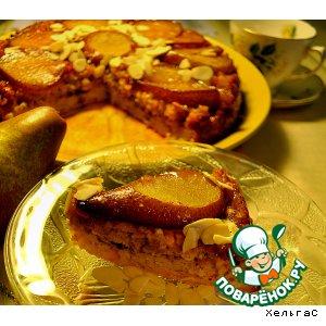 Рецепт Запеканка-перевертыш с грушами в меду и овсяными хлопьями с творогом