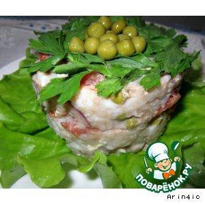 Рецепт Салат из печени трески, с овощами и рисом