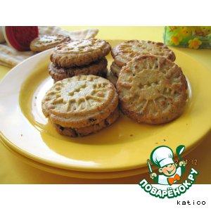 Рецепт Ароматное печенье из пшенных хлопьев с орехами