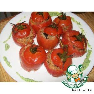 """Рецепт Запеченные помидоры с гречневыми хлопьями, маслинами и анчоусами в оливковом масле  """"Из России с любовью"""""""