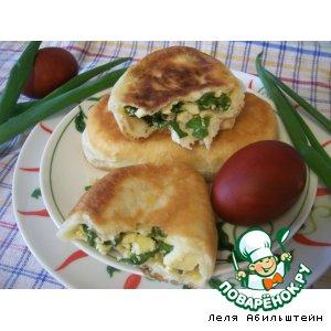 Рецепт Пирожки с ранним зеленым луком и яйцом из теста на опаре