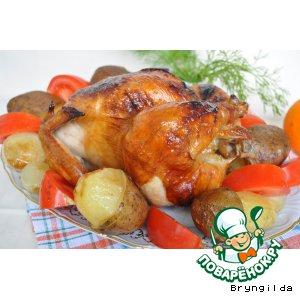 """Рецепт Курица на вертеле с апельсином и """"грибами"""""""