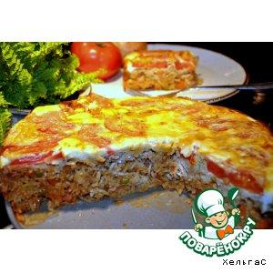 Рецепт Рисовая запеканка-пирог с рыбой и томатами