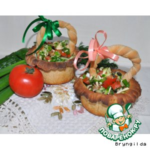 Рецепт Ржаные лукошки. Хлеб-салат