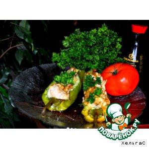 Рецепт Перчик запеченный с курицей и сыром под соевым соусом