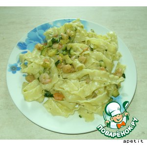Рецепт Макароны с кабачком и креветками