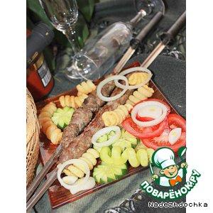 Рецепт Кийма шашлык с овощами и с картофельными спиральками