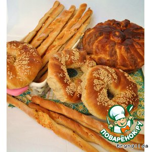 Рецепт Хлеб для пикника. Калачи с кунжутом, сырные палочки и каравай из ржаной муки на соевом соусе и сыворотке