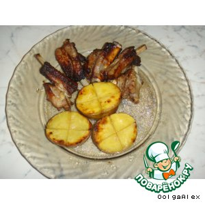 Свиные ребра с печeной картошкой в аэрогриле