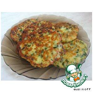 Рецепт Оладьи с зеленым луком и  сыром