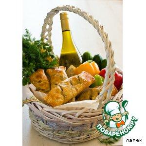 Рецепт Деревенские роллы с печеным баклажаном и перцами