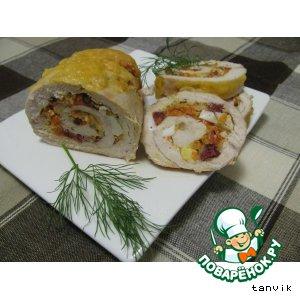Рецепт Куриный рулет с колбасой