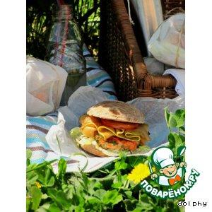Рецепт Бургер с семгой и маринованными кабачками