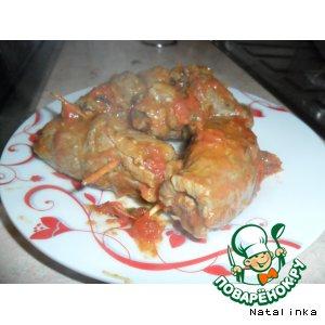 Рецепт Мясные рулетики с лапшой в томатном соусе