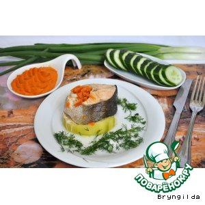 Рецепт Кольца из лосося паровые с кабачком