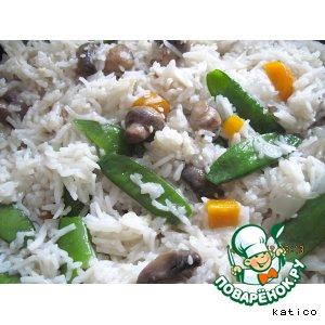 Рецепт Рис с молодым зеленым горошком и грибами