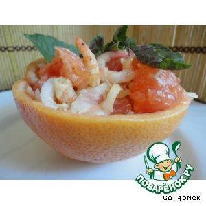 Рецепт Салат с креветками и грейпфрутом