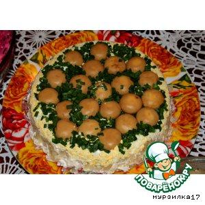 Салат с опятами маринованными перевертыш