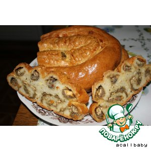 Рецепт Сочный пирог с печенью, грибами и сыром