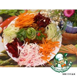 """Рецепт Овощной салат с мясом """"Яркая идея"""""""