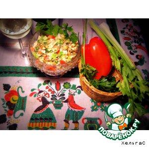 Рецепт Салат из сельдерея, сладкого красного перца, яблока и грудки индюшки