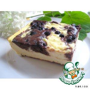 Рецепт Творожно-шоколадный пирог с кремом и черникой