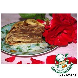 Рецепт Блинный пирог с шоколадом и бананами