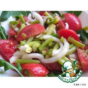 Рецепт Летний салат со спаржевой фасолью и помидорами
