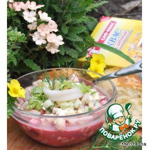 """Рецепт Летний суп с кальмарами и сырными булочками """"Семейный обед"""""""