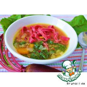 """Рецепт Суп """"Гламурный. Розовые грезы"""" с домашней пастой на свекольном соке"""