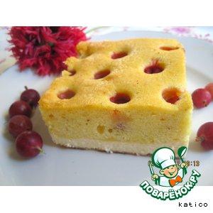 Рецепт Творожно-бисквитный пирог с крыжовником