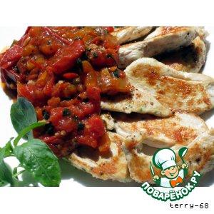 Рецепт Куриное филе в томатном соусе с базиликом
