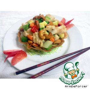 Рецепт Курица с орехами кешью в хрустящей корзинке