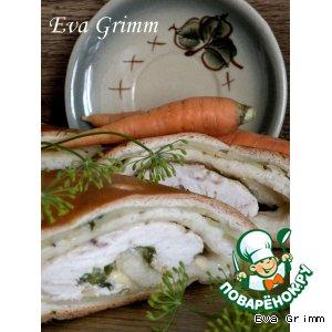 Рецепт Куриная грудка в слоеном тесте с молодым картофелем и зеленым луком