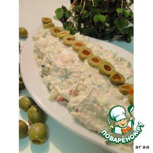 Рецепт Сырный дип с оливками и огурцом