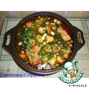 Рецепт Тушеные свиные ребрышки с картошкой