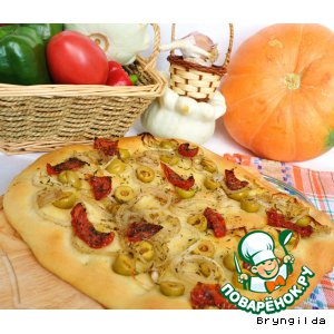 Рецепт Фокачча с оливками и вялеными помидорами