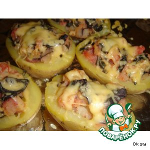 Рецепт Запеченный картофель с сырным колпачком