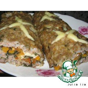 Рецепт Мясной рулет с перчиком и сыром