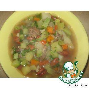 Рецепт Густой суп с печенью, кабачками и фасолью