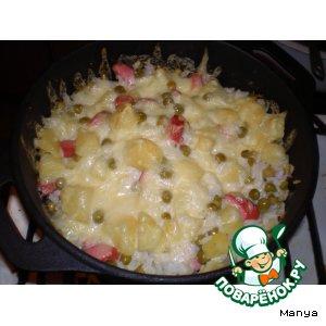 Рецепт Картофель, запеченный с зеленым горошком и рисом