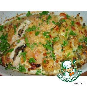 Рецепт Куриная грудка, фаршированная грибами, в сливках