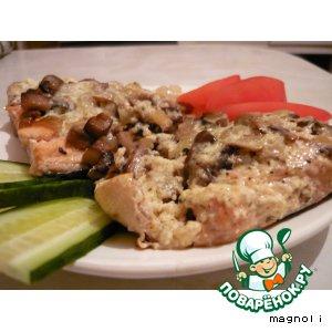 Рецепт Горбуша запечeная с сыром и грибами