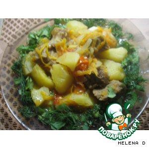 """Рецепт Картофель, тушеный с мясом и пряными травами ,  """"По-домашнему"""""""