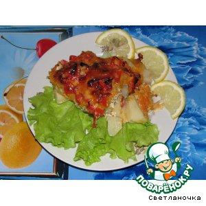 Рецепт Пикша, запечeнная  с овощами в  рукаве