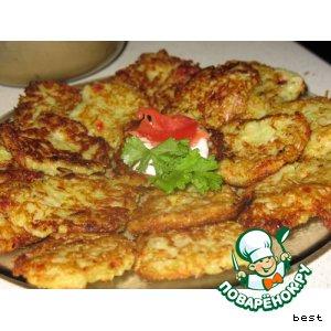 Рецепт Острые кабачковые оладушки с форелью