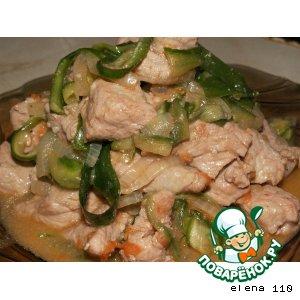 Рецепт Горячий салат с мясом в китайском стиле